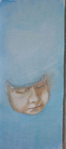 How can one know oneself . Annica Delfos. 20 x 55 cm. Oil paint on primed linen