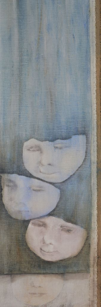 How can one know oneself. 20 x 55 cm. Oil paint on primed linen . Annica Delfos