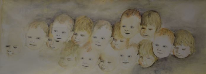 We. Annica Delfos . Oil paint on primed linen. 90 x 90 cm
