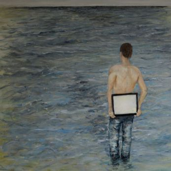 Searching. Annica Delfos . Oil paint on primed linen. 90 x 90 cm