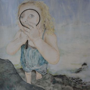 I can See you. Annica Delfos . Oil paint on primed linen. 90 x 90 cm