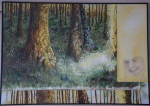 Peace. Annica Delfos. 70 x 100 cm. Oil paint on primed linen. Collage